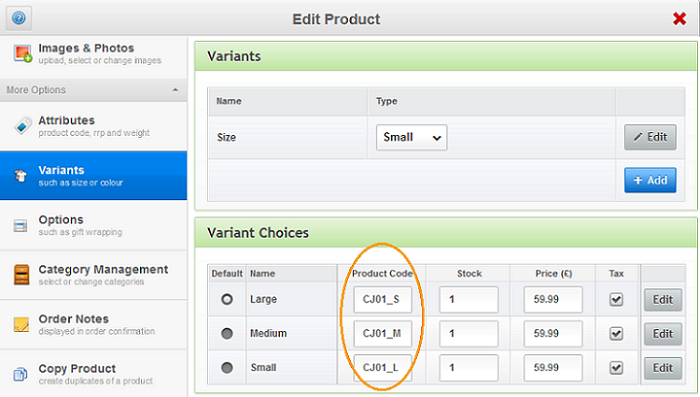 Add multiple product variant options to product page with ekmPowershop