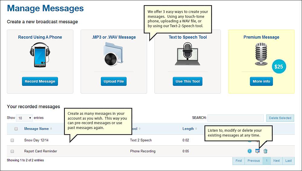 DialMyCalls messages dashboard screenshot