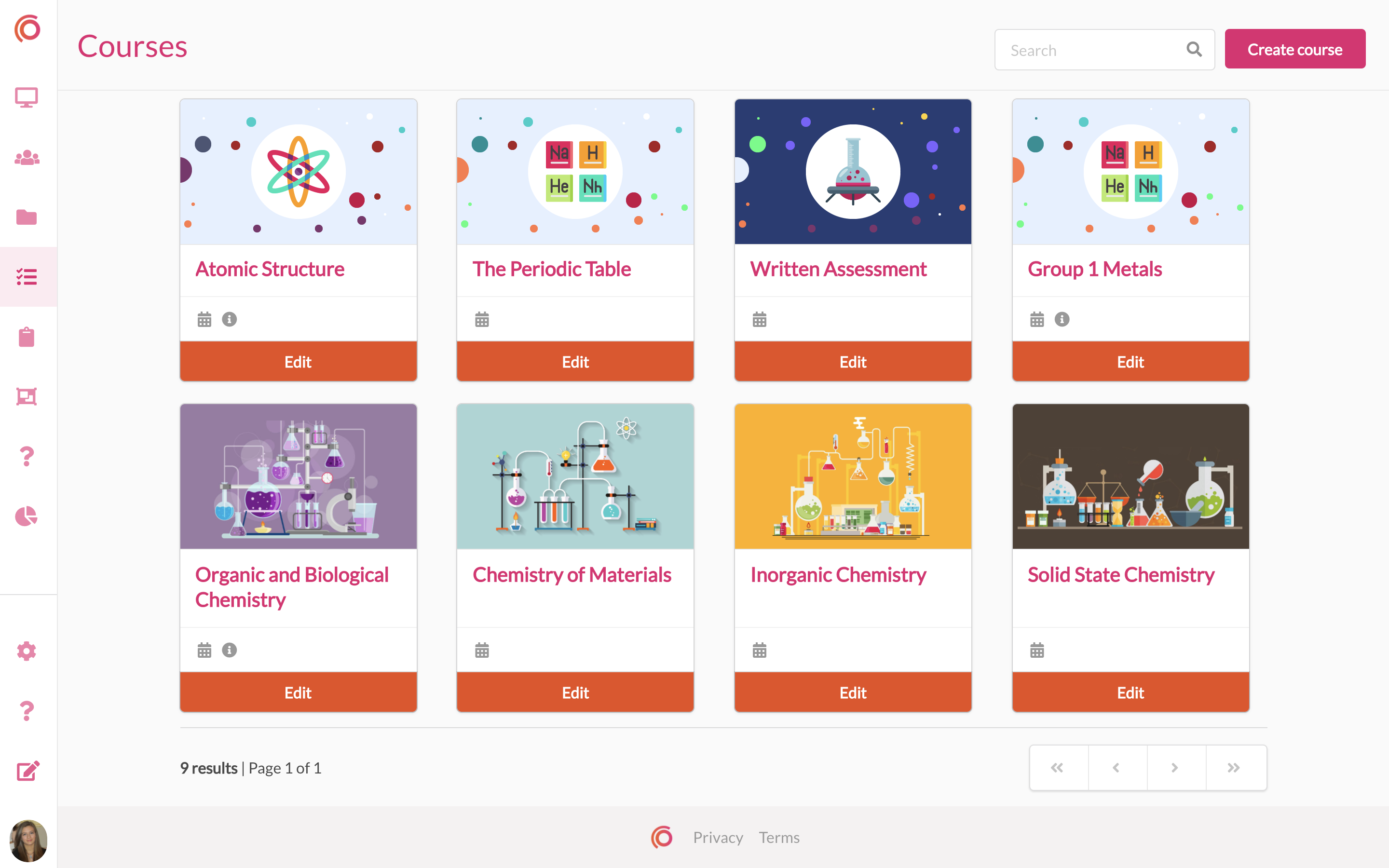 Create, manage and deliver courses within the platform