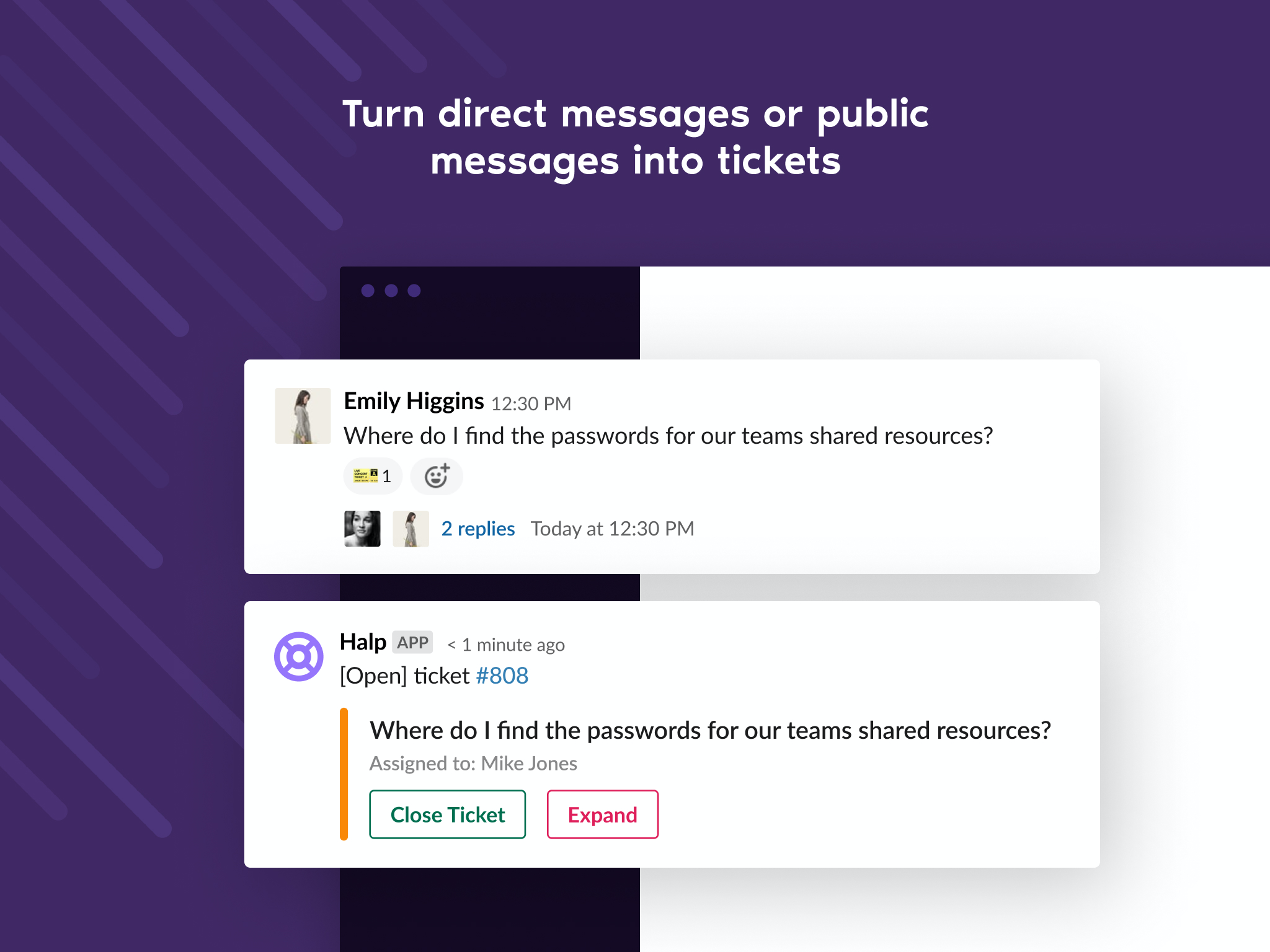 Halp screenshot: Slack messages in public or private channels can be marked with the ticket or custom emoji and turned into a trackable ticket.