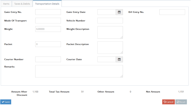 Bhoomi Software - Transportation details