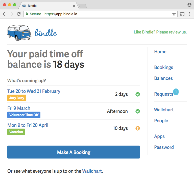 Bindle screenshot: Employees can request multiple types of time-off online through Bindle