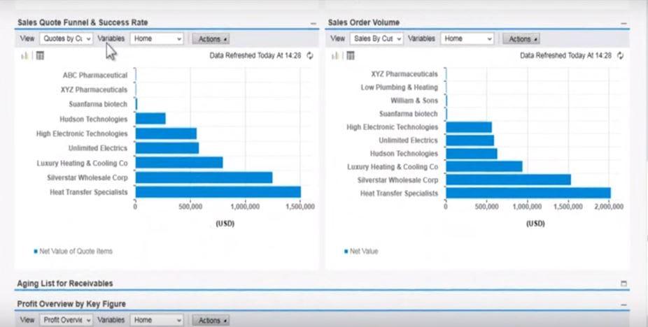 SAP Business ByDesign Software - Sales dashboards
