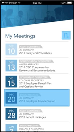 emPower Digital Boardroom Platform agenda screenshot