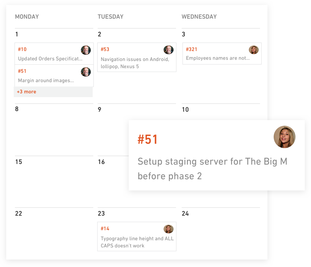 The calendar element within Productive's project management section allows work to be booked and planned across time