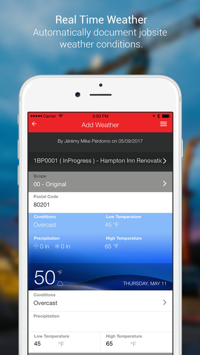 Automatically input details of jobs such as weather conditions