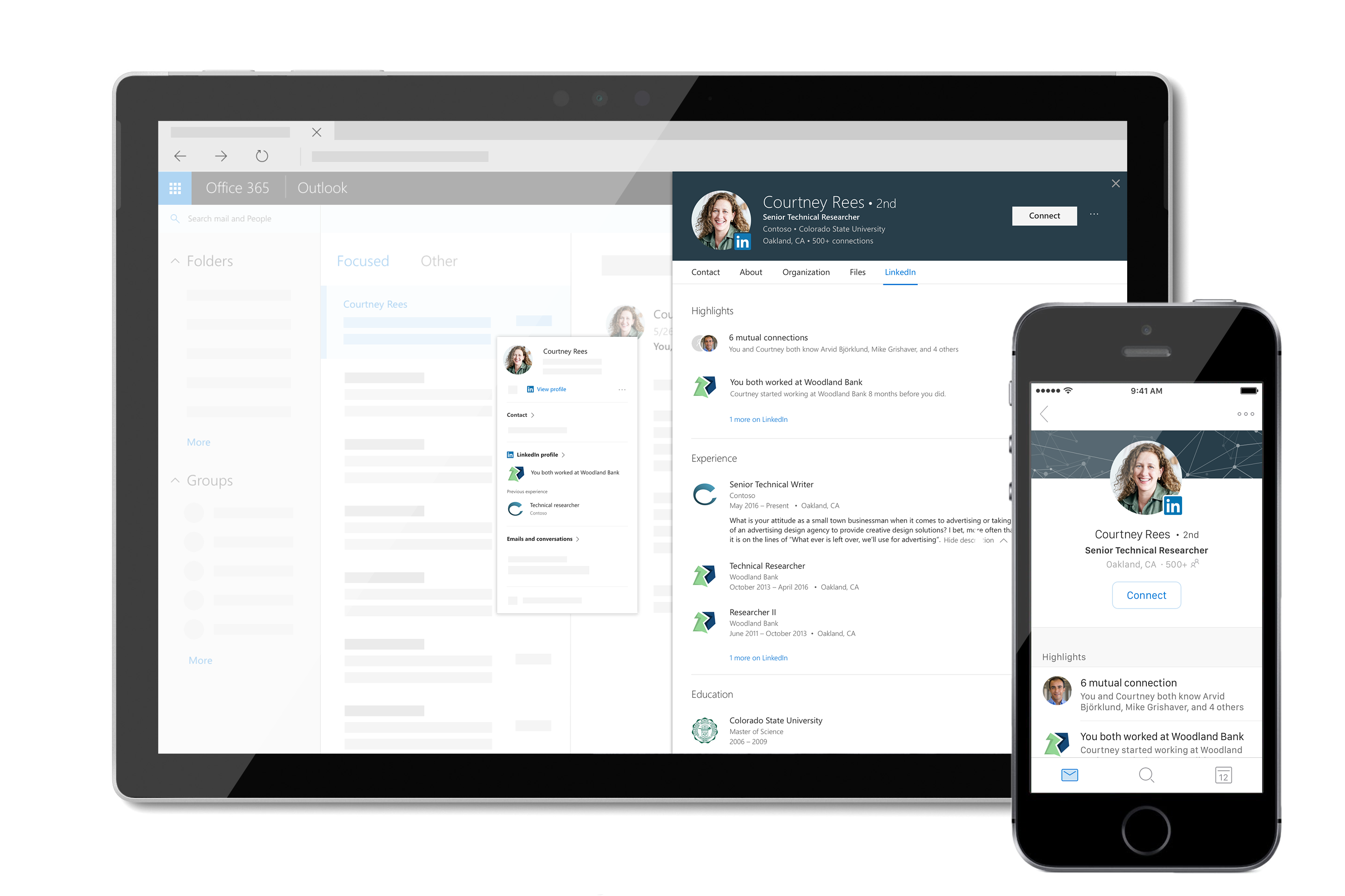 LinkedIn offers integration with the Profile Card in Office 365