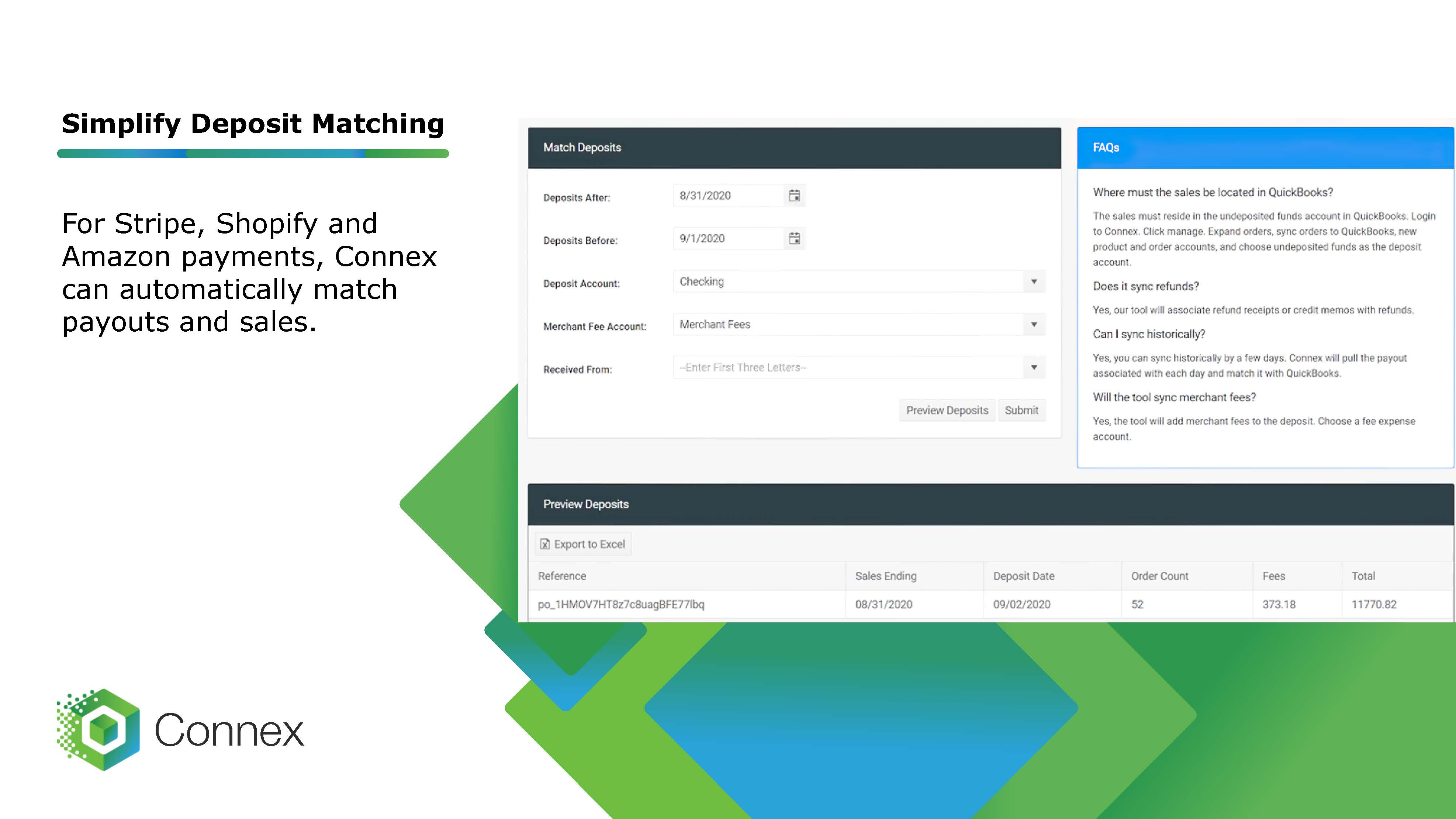 Automate matching deposits with your online payouts