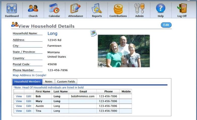 Church Office Online Software - Household details