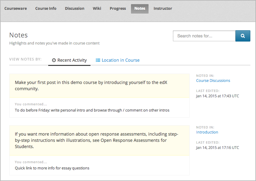 OpenEdX Software - Student notes