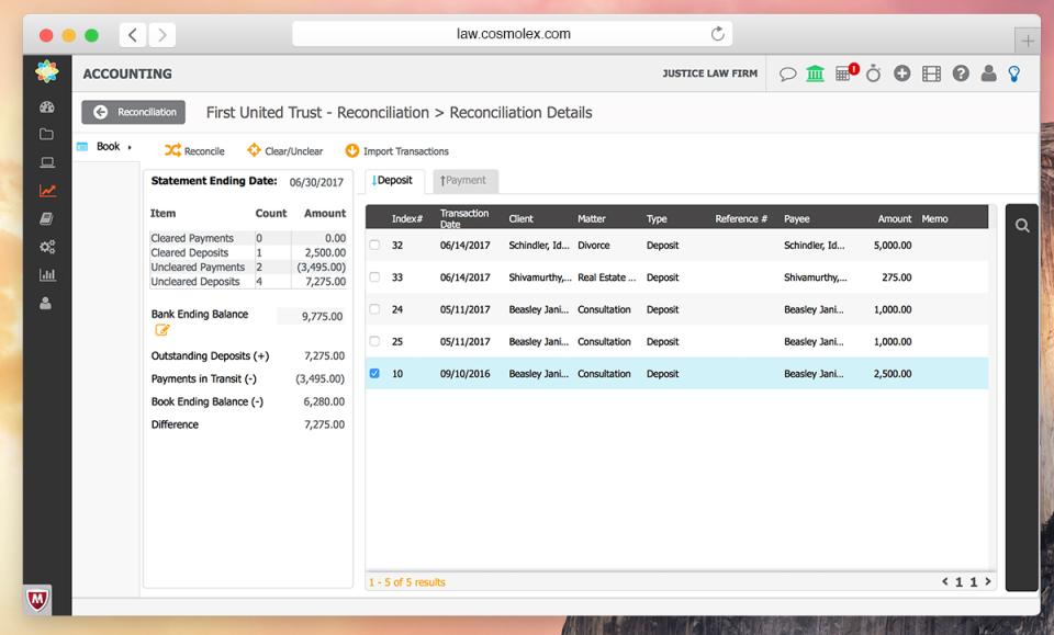 CosmoLex Software - CosmoLex accounting