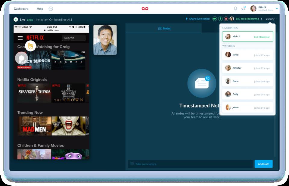 Lookback screenshot: Lookback live sessions