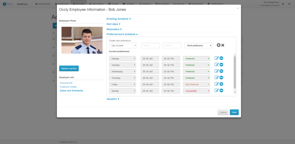 View employee profiles with their preferred work schedule