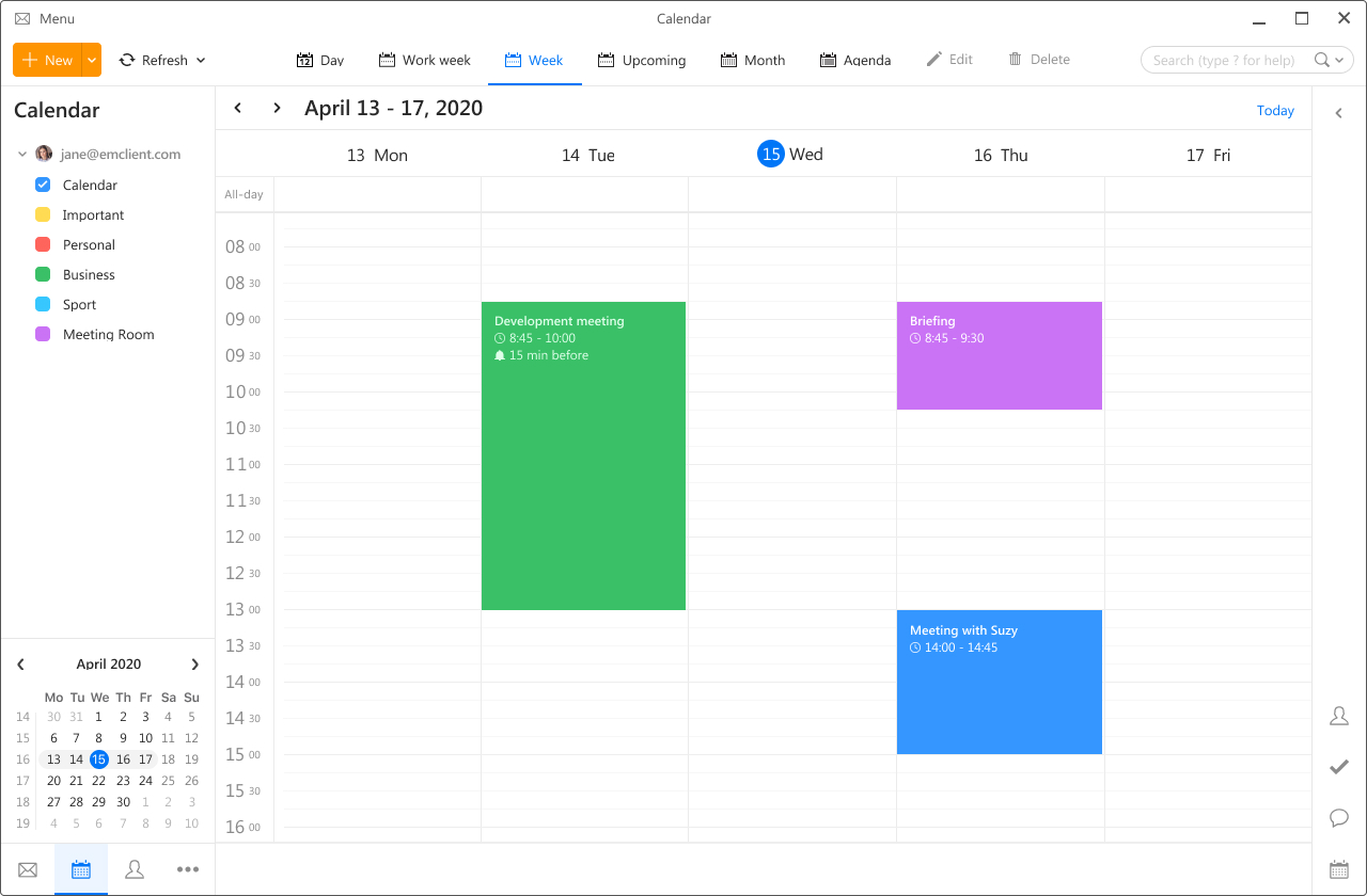 eM Client - Calendar, weekly view