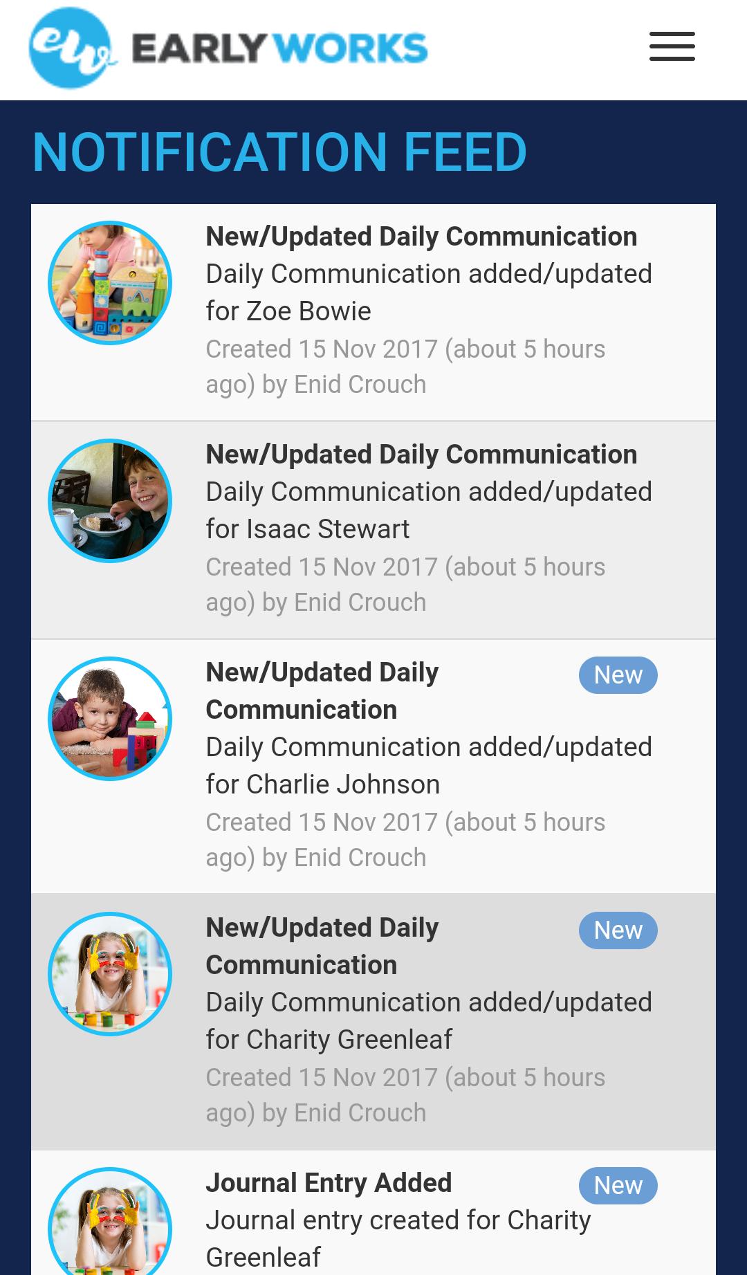 Notification feed