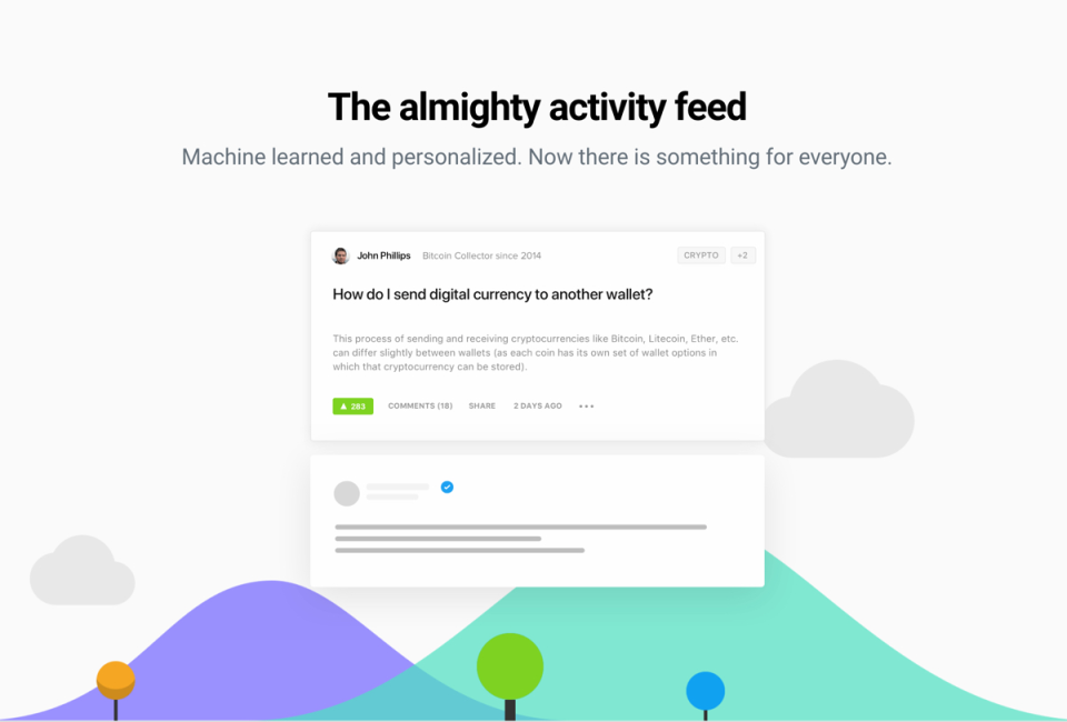 Personalized activity feed to keep members updated with relevant content