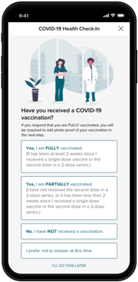 ADP Return to Workplace - Vaccine Survey Solution. Send short surveys to collect worker readiness and sentiment about returning to the workplace, as well as their vaccination status and proof of vaccination or negative COVID-19 test results.