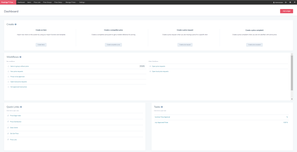 From the dashboard users can create items, competitor price analysis, price requests, or price complaints