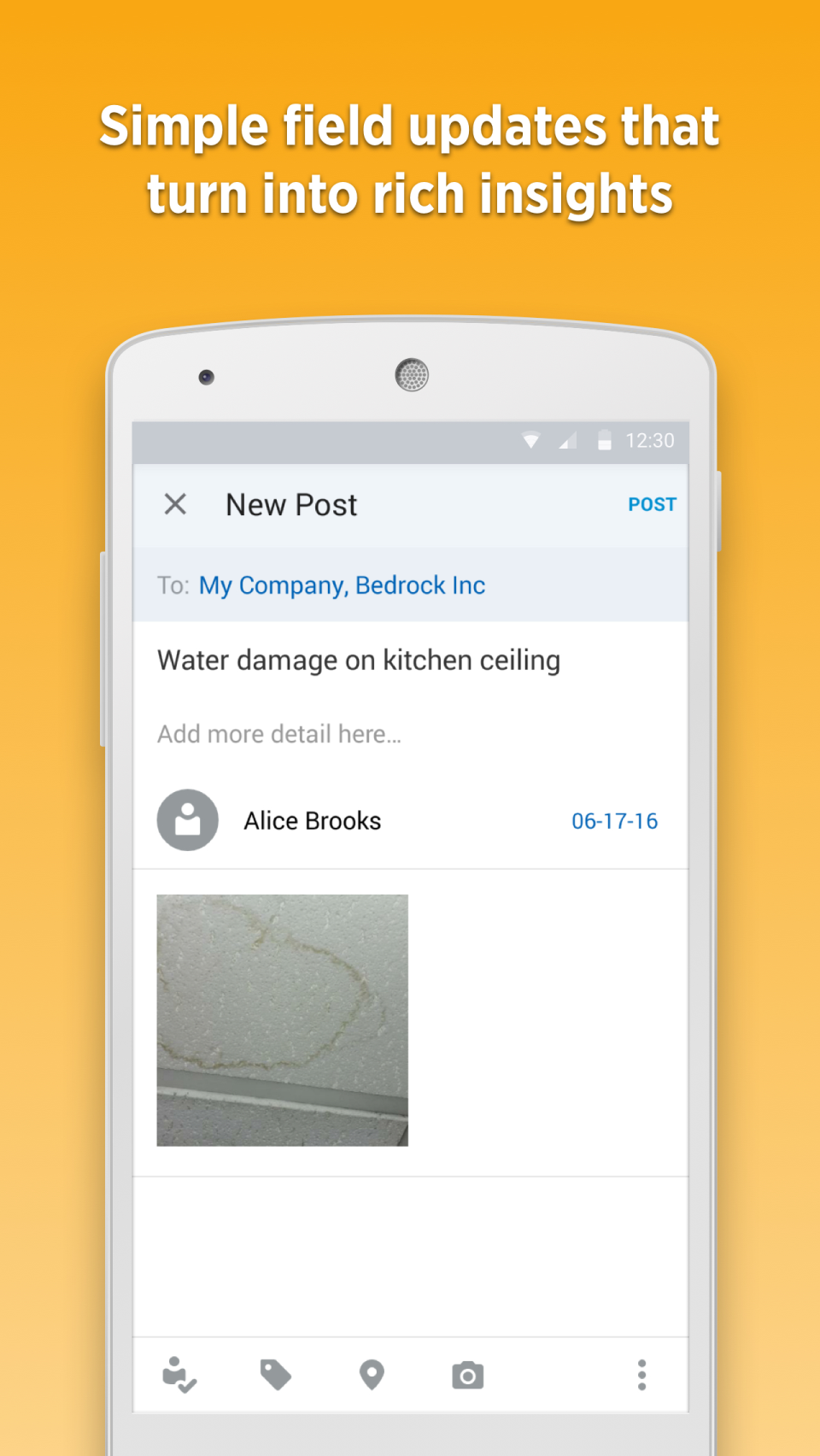 Fieldlens enables users to add photos, videos, and voice recordings to their update posts