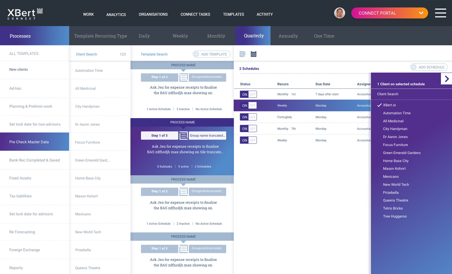 XBert custom templates and client scheduling