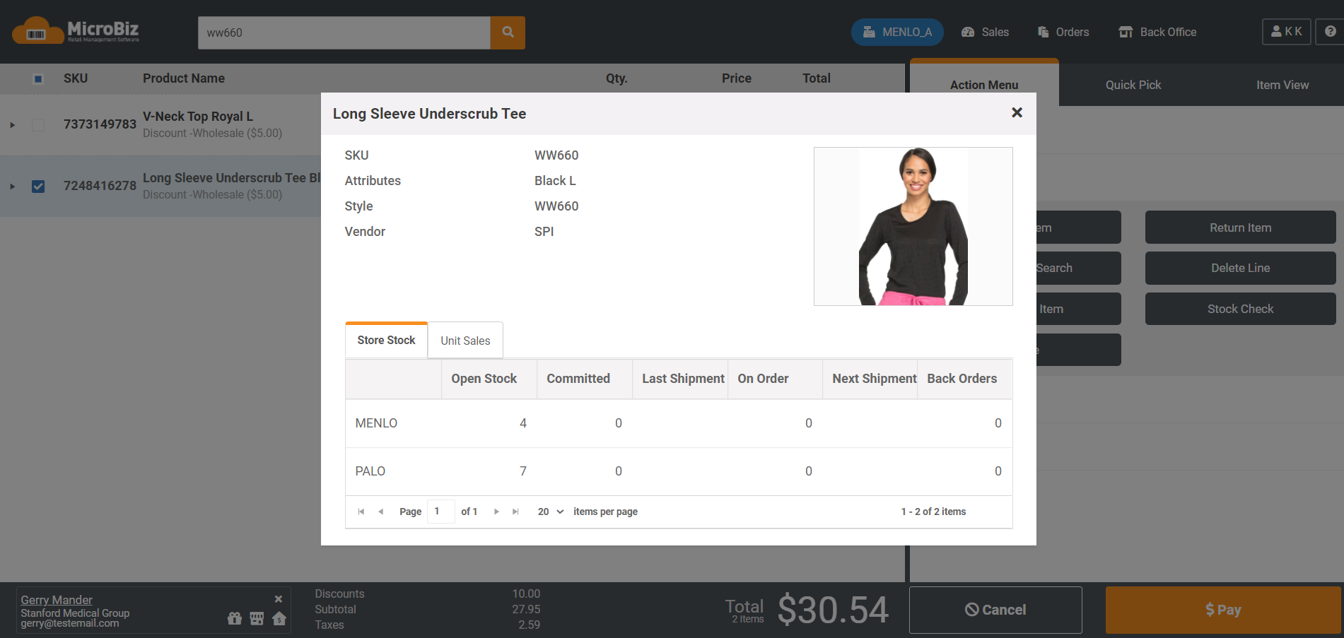 The customer profile displays all relevant data about the customer attached to the transaction.  You can view the customers pricing group, store credit and credit account balance and whether that customer has any store credits or gift cards outstanding.