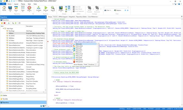 Visual LANSA code completion
