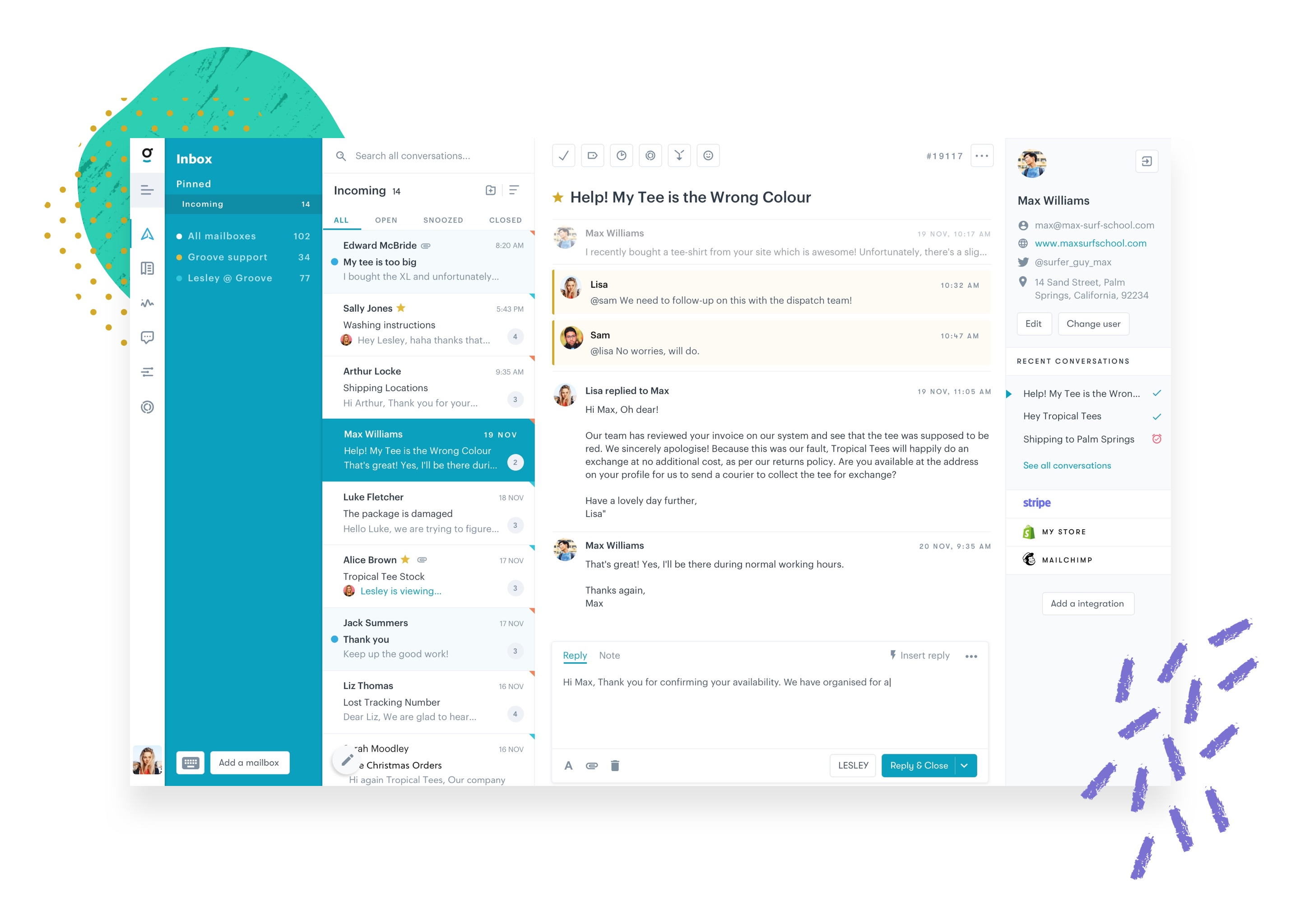 Groove screenshot: Groove's Shared Inbox - No matter how you talk with your customers (email, social media, chat, or the phone), easily keep track of it all in our intuitive dashboard.