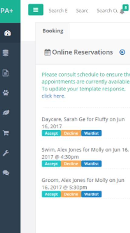 PawsAdmin online reservations