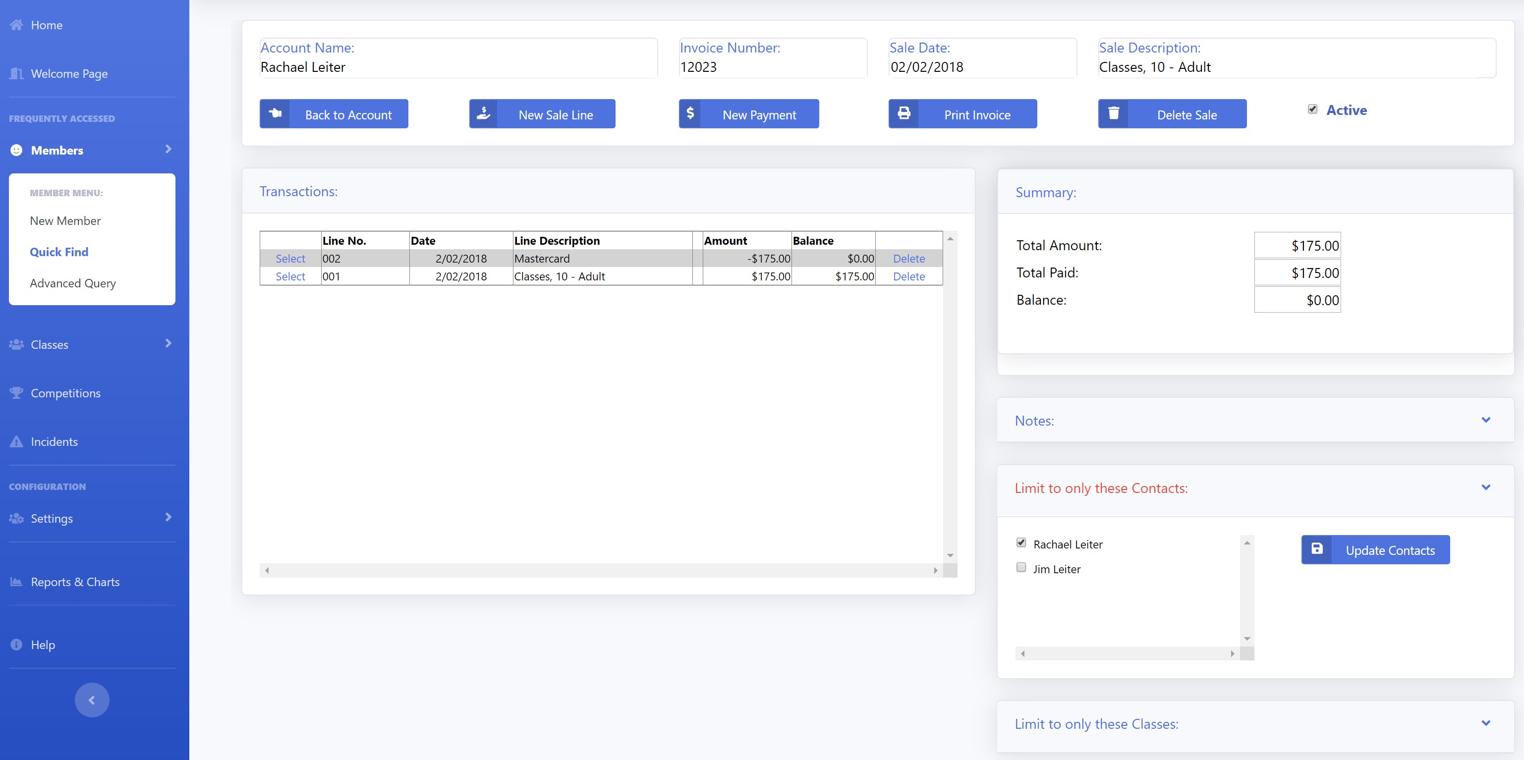 Arnold sales details screenshot