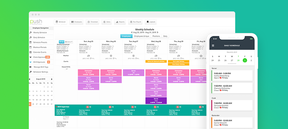 Push Operations Software - Push Operations schedules