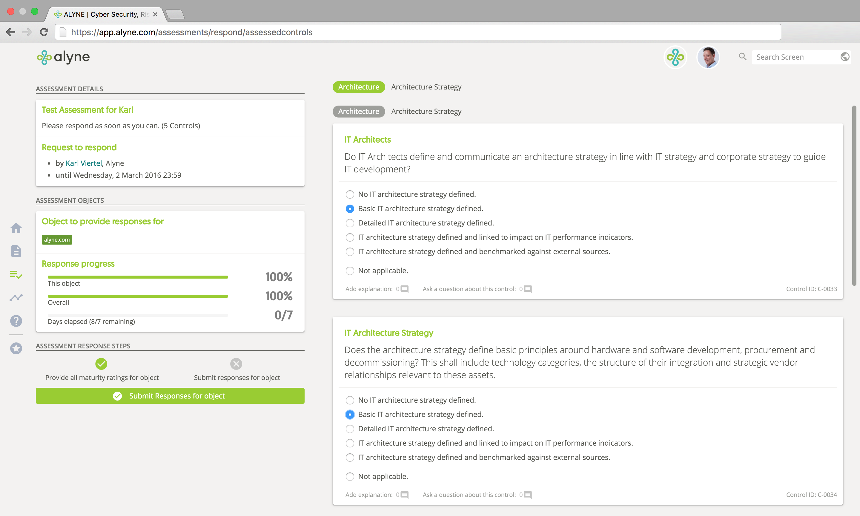 Assessment Response Screen
