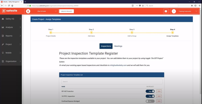 Safesite assigning templates