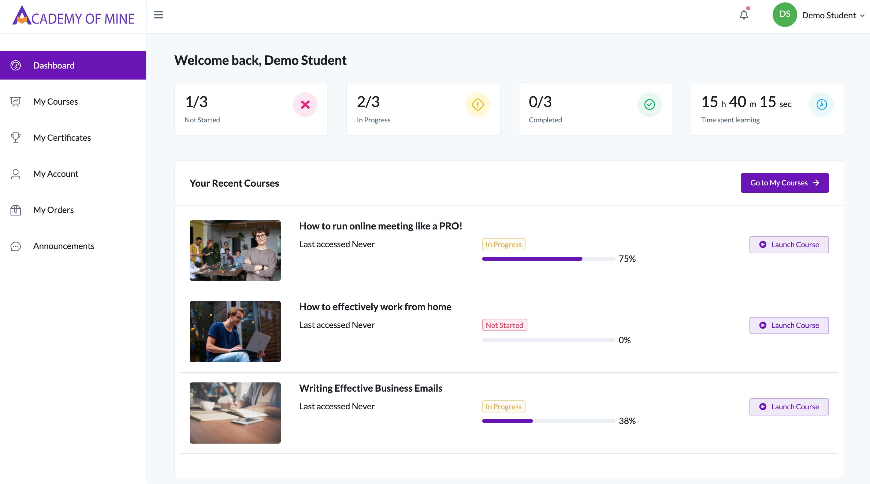Academy Of Mine screenshot: Student Dashboard