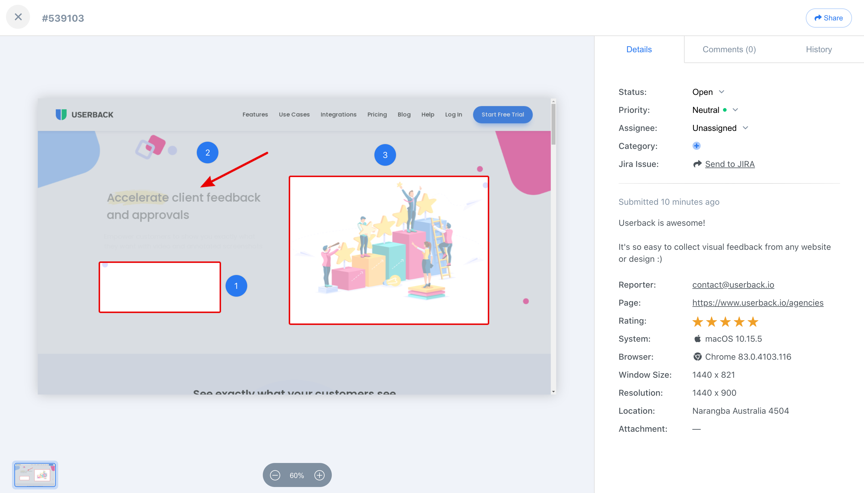 Easily manage feedback for all your web projects in the same place. Plus you can automatically capture browser and user information to save time when troubleshooting issues.