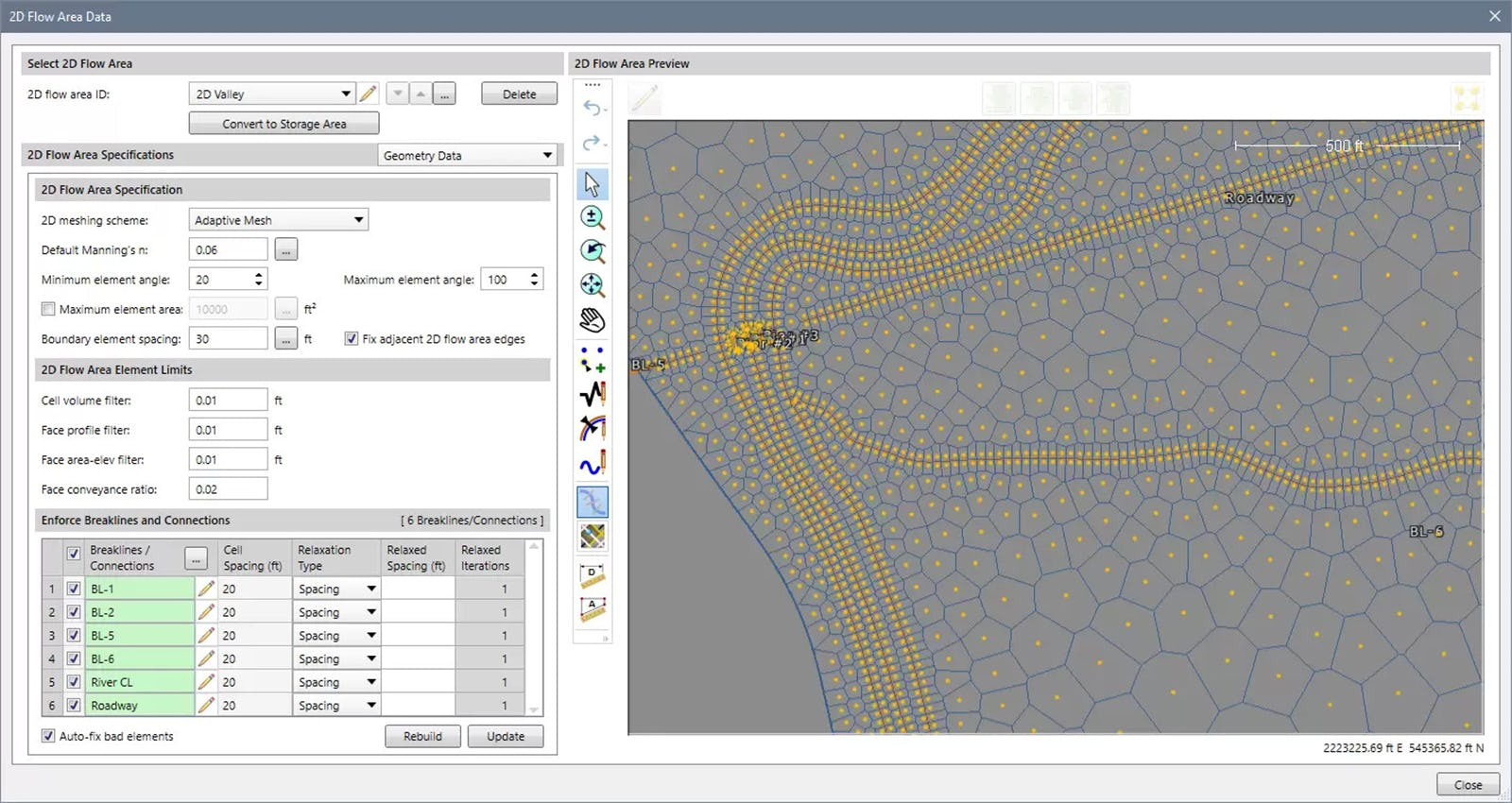 In addition to HEC-RAS' default rectangular (structured) 2D computational mesh, the software can create an adaptive 2D mesh to better represent more complicated 2D flow conditions and structures.