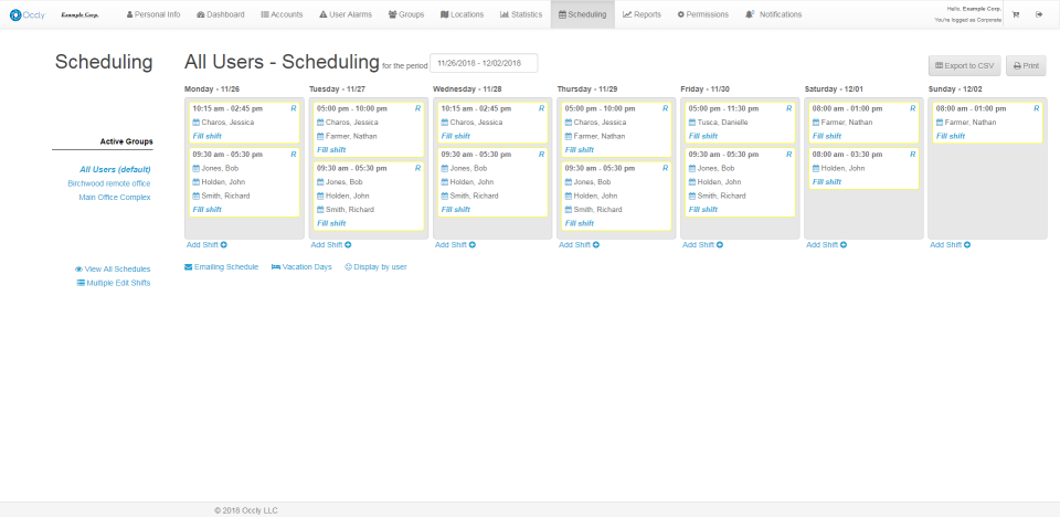 Users can track and manage employee schedules, then email work schedules directly to employees