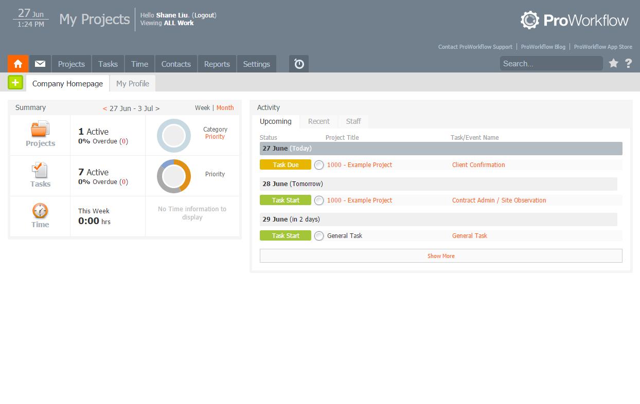 ProWorkflow screenshot: ProWorkflow's personalized homepage dashboard