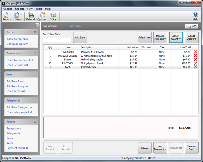 Copper POS Software - 2