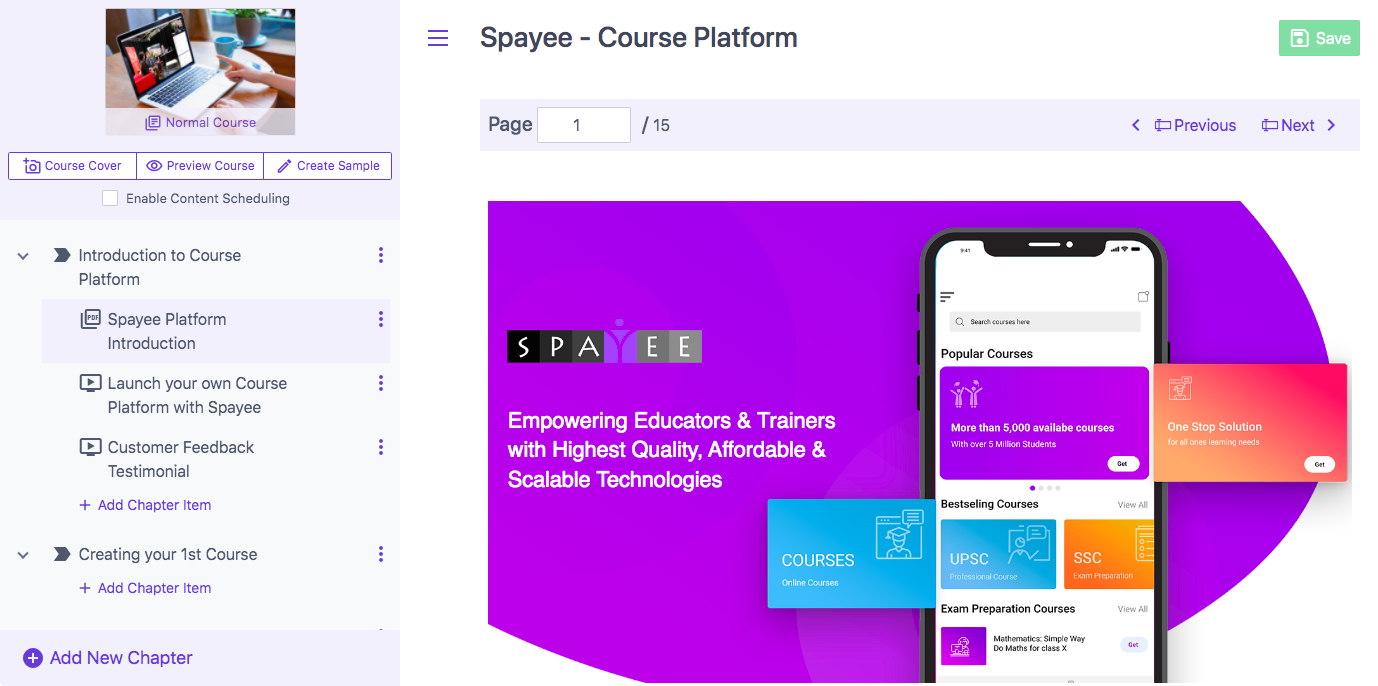 Spayee course builder