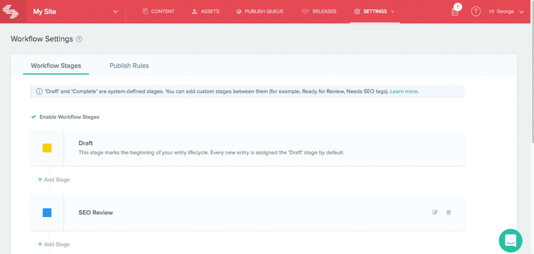 Contentstack workflow settings