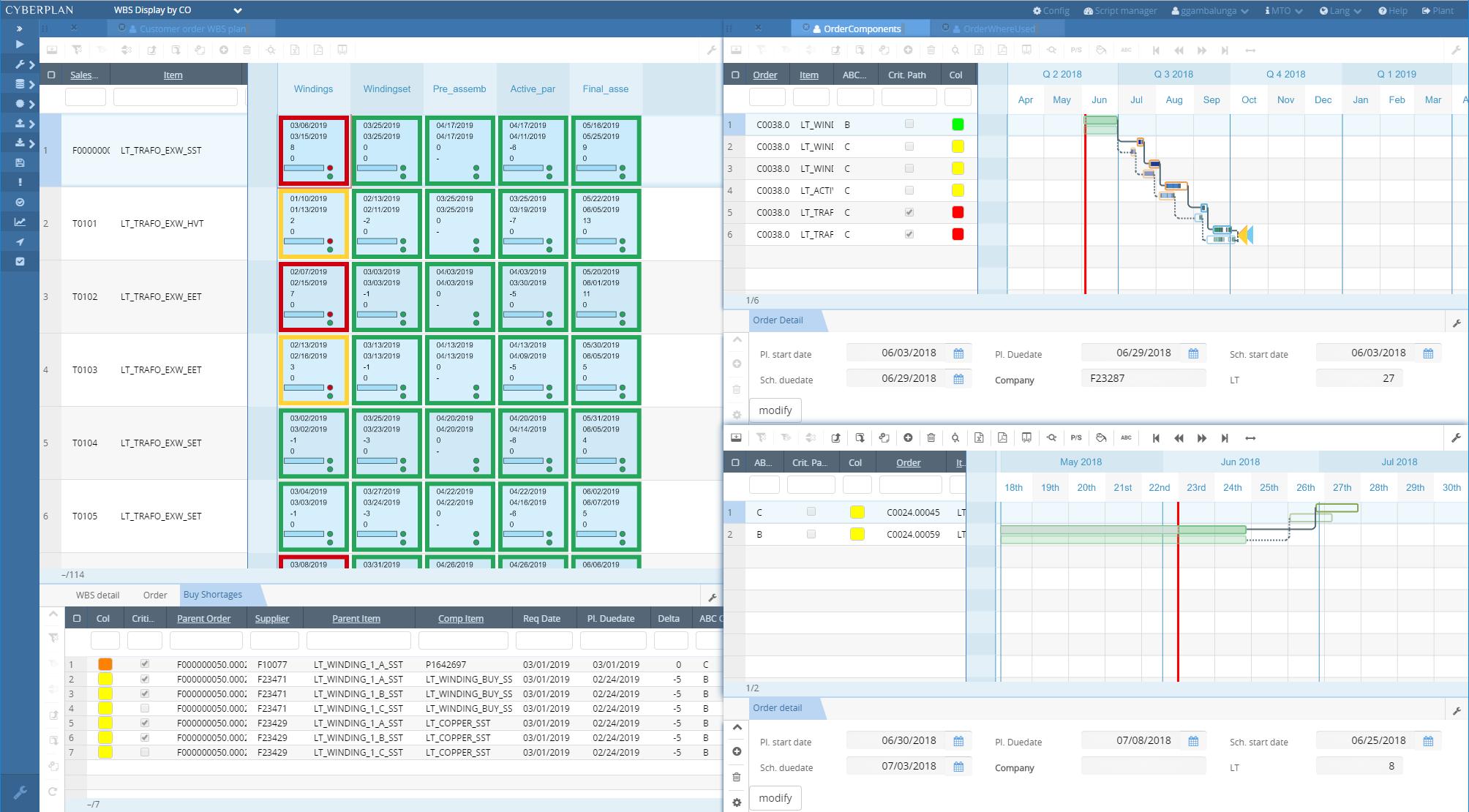 CyberPlan Software - CyberPlan WBS display screenshot