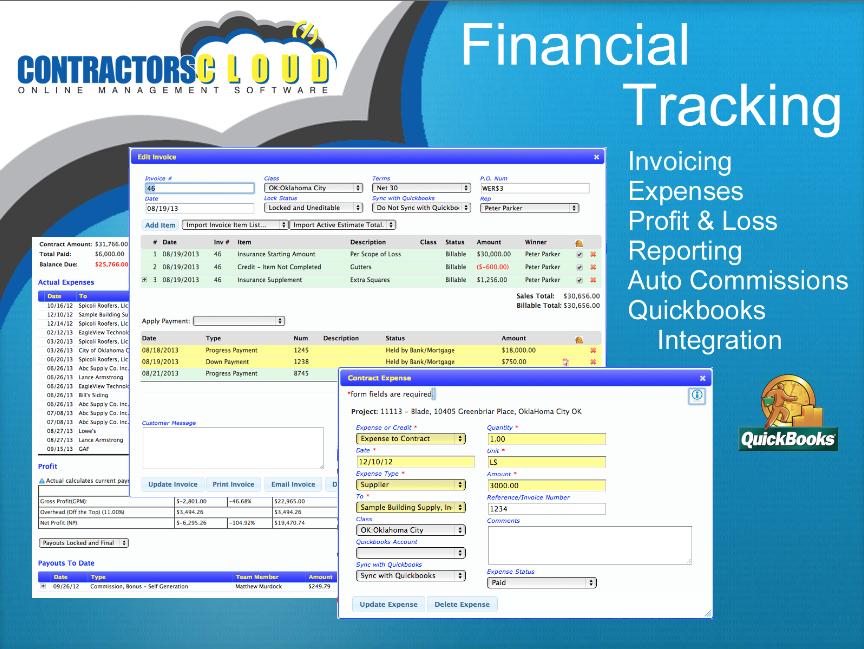 Contractors Cloud Software - Financial tracking