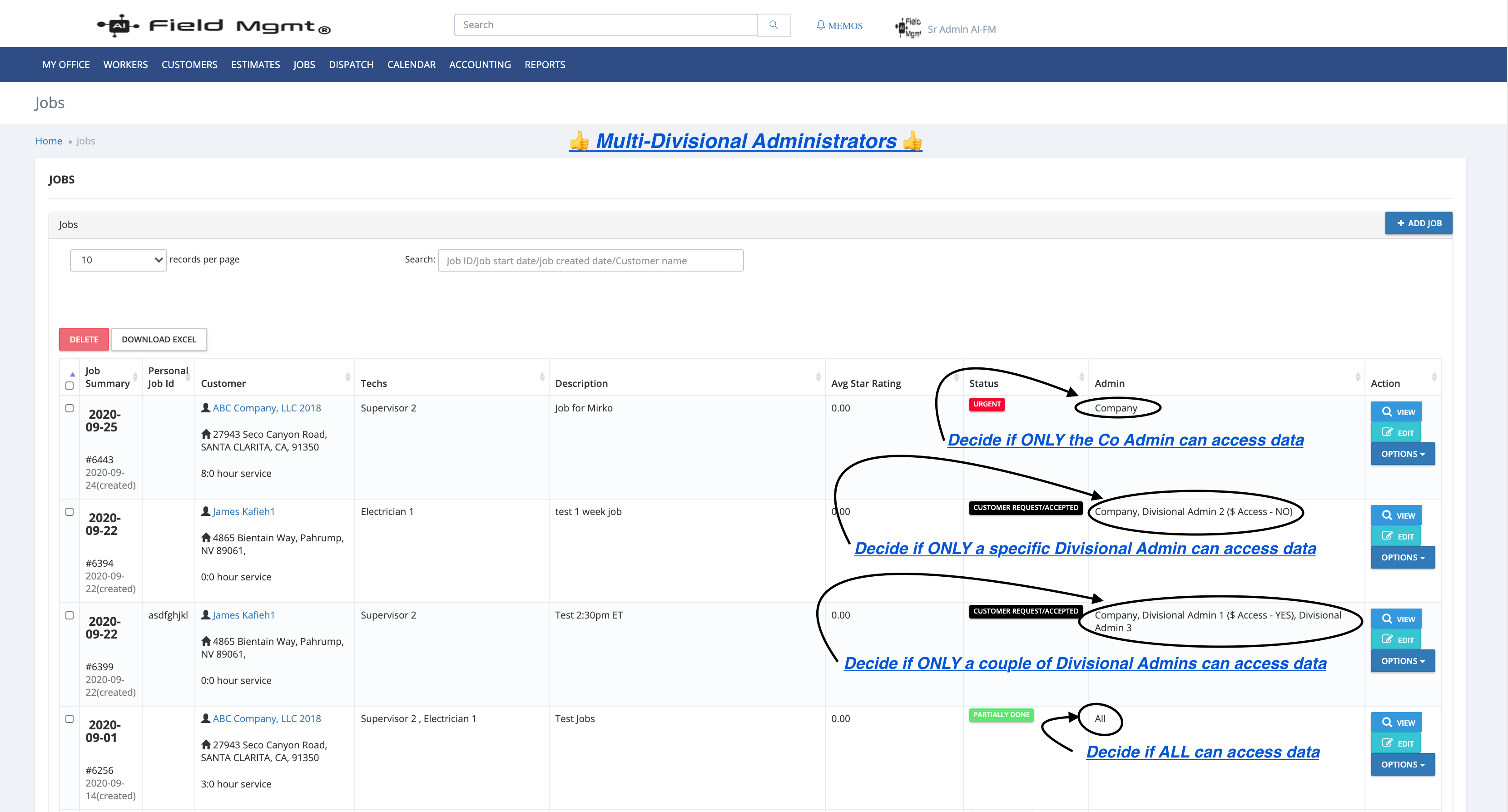AI Field Management Software - Multi-Admins so they only see their Divisional details