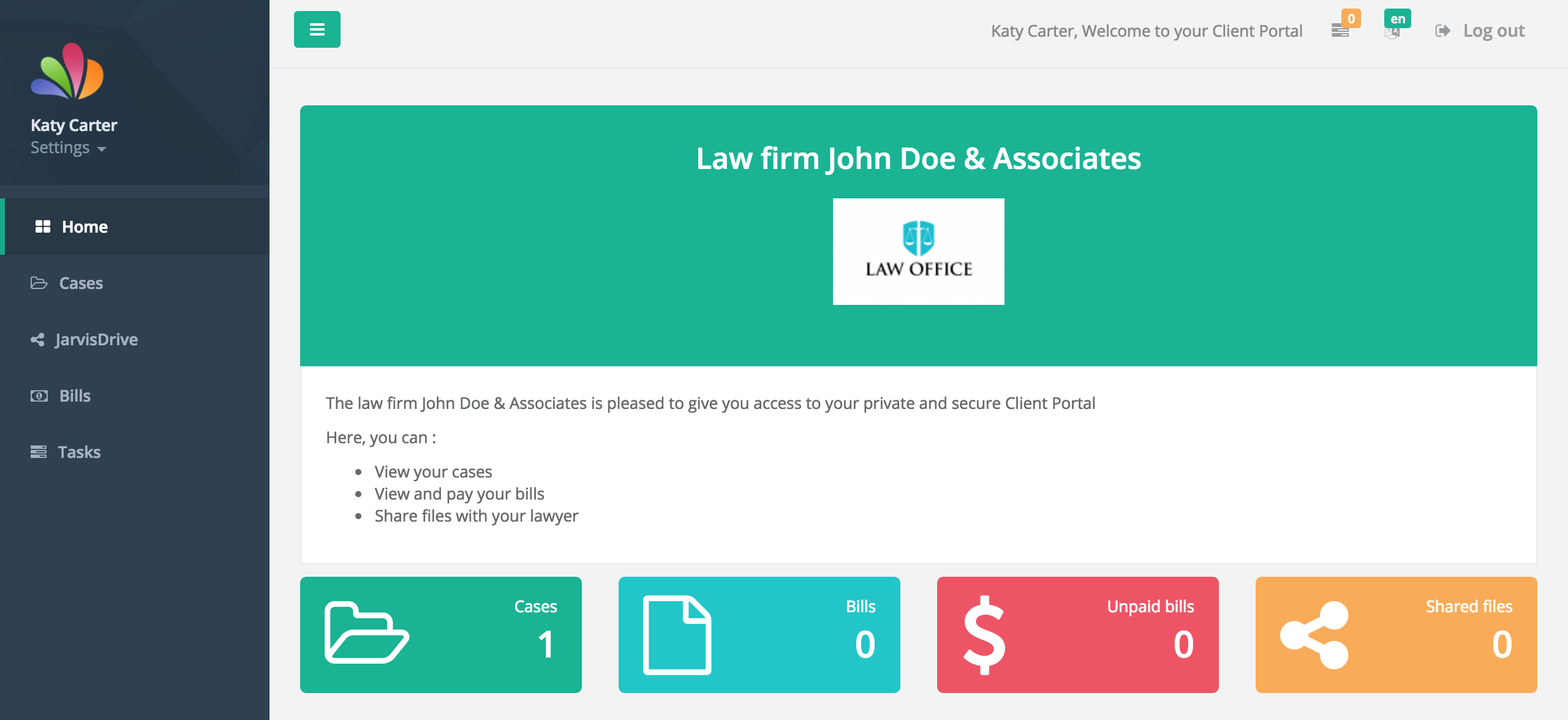 Jarvis Legal Software - Client portal