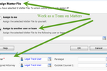 Legal Track screenshot: Assign matter files to individuals or multiple users or teams