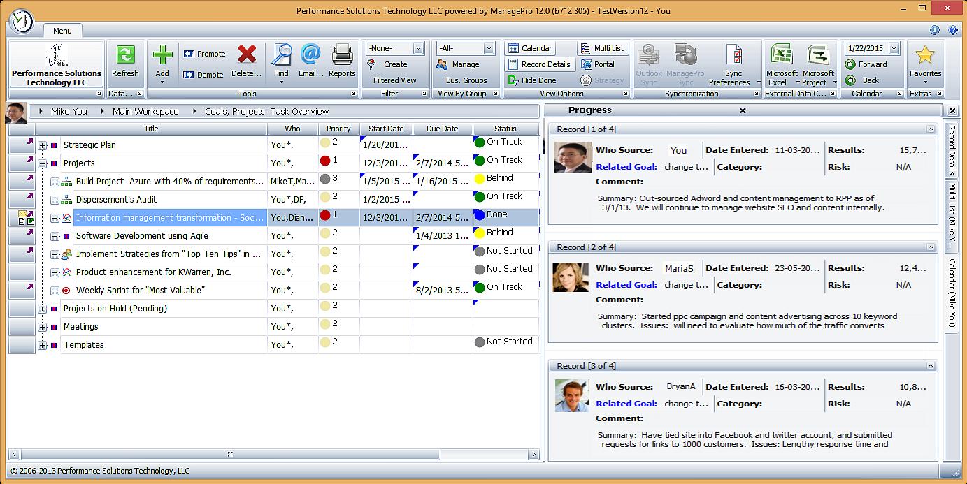 ManagePro screenshot: Project Status Updates