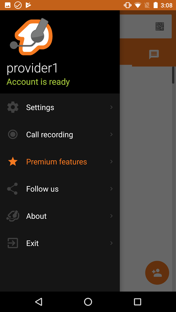 More than one SIP/IAX provider can be registered for use within the Zoiper Pro app on Android, here showing account status within the navigation menu