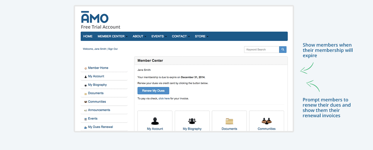 Allow members to pay for their renewals online with dues and automated renewals features