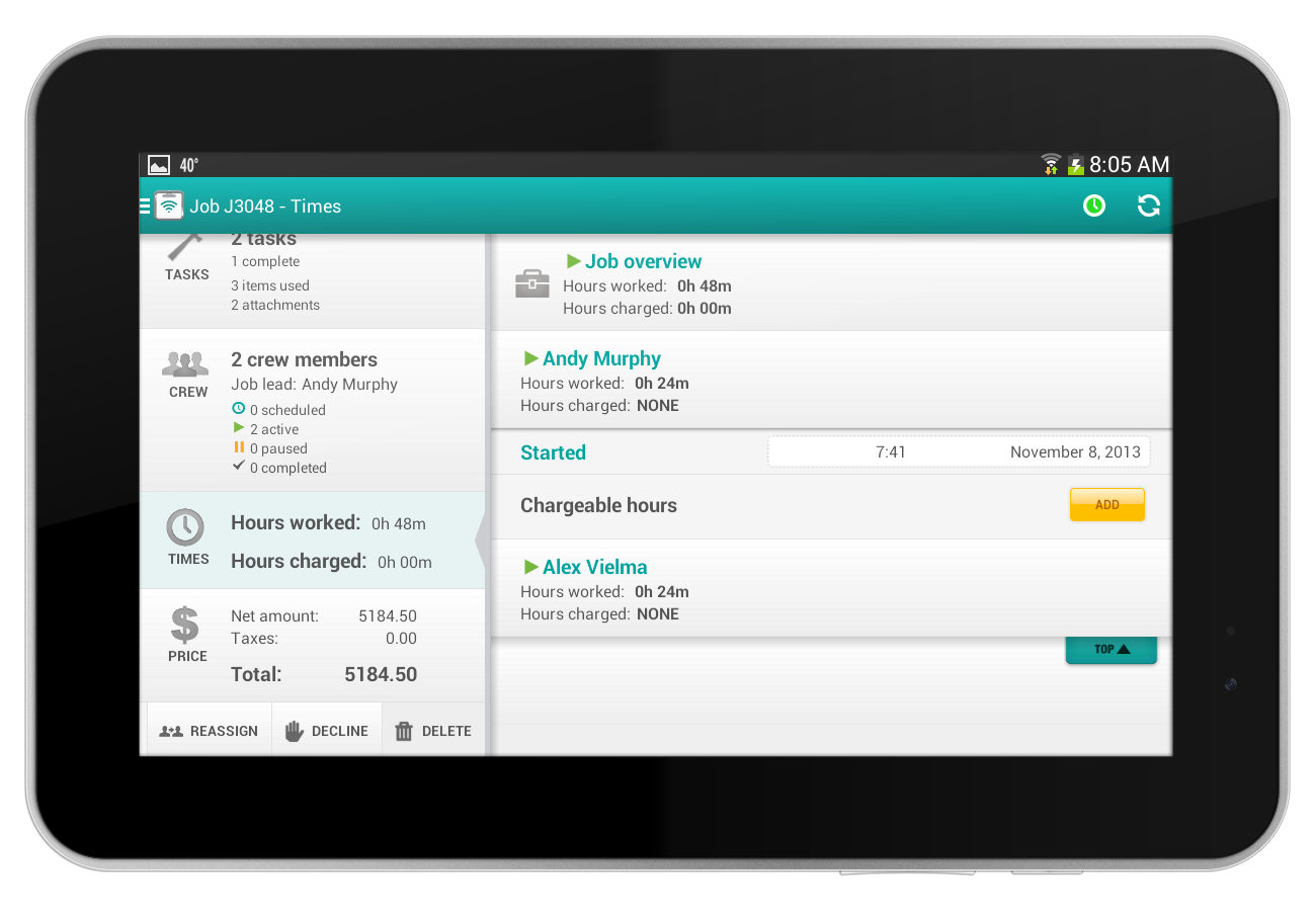 FieldAware screenshot: Track jobs with information on hours worked, assigned team members, costs, and more
