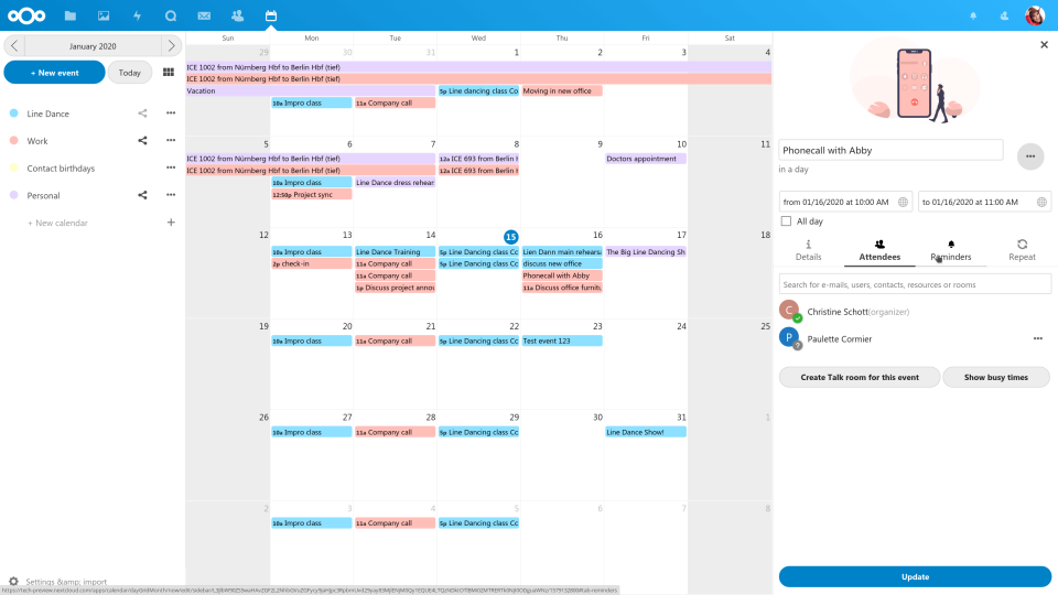 Nextcloud manage appointments